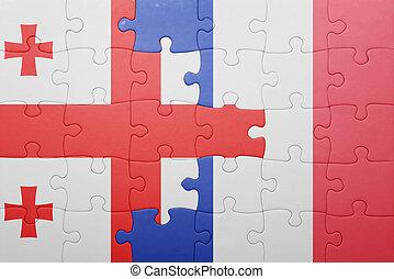 Puzzle, Géorgie, drapeau,  national,  france