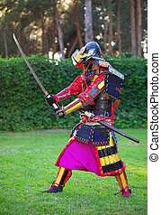 Man in samurai costume with sword. Original Character