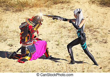 Battle of two characters: a man in samurai costume with...