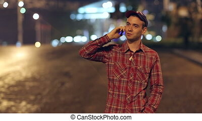 Man Talking With Phone at Night City
