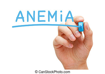 Anemia Blue Marker - Hand writing Anemia with blue marker on...