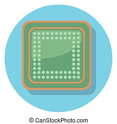 chip circle icon with shadow.eps