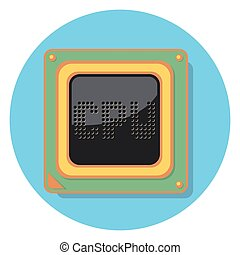 cpu chip circle icon with shadow.eps