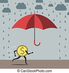 Dollar running to umbrella - Yellow dollar coin running to...