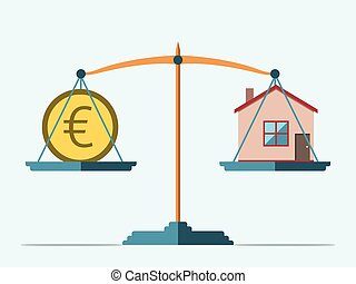 Scales, euro and house - Euro coin and house on scales Real...