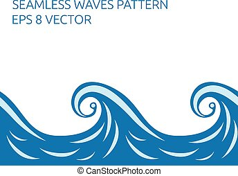 Seamless waves pattern - Beautiful stylish blue seamless...
