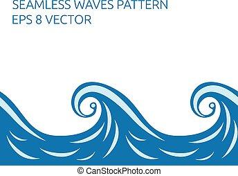 Seamless waves pattern - Beautiful stylish blue seamless...