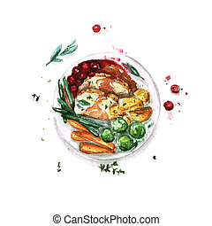 Feast Meal - Watercolor Food Collection