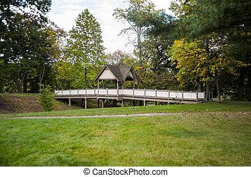 Bridge in Roger Williams Park - Pedestrian bridge crossing...