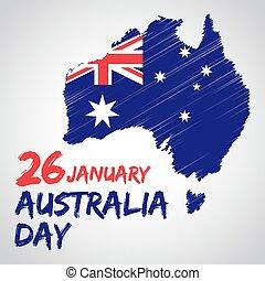 Australia National Day - Australia national day with flag...