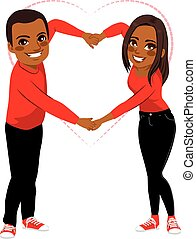 Cute Couple Love Arms Shape - Lovely African American couple...