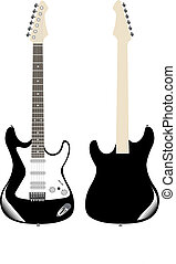 Guitar front and back isolated on white