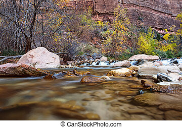 Water flowing through the Virgin river in Zion National Park in USA