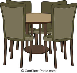 Table with four chairs vector illustration