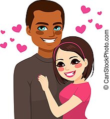 Interracial Couple Love - Portrait of young happy...