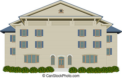 Wood Style Mansion - Vector illustration of tan and blue...