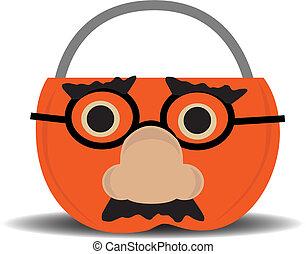 Pumpkin Candy Holder Wearing Disguise