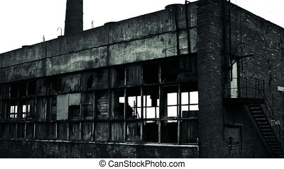 Destroyed warehouse outside view. - Destroyed warehouse...