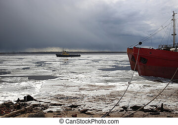 Close up of drift ice boat at at Arkhangelsk - Close up of...