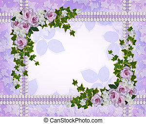 Roses and gardenias floral border - Image and Illustration...