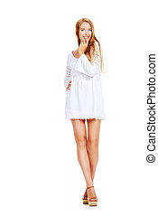 full length portrait - Attractive young woman in a white...