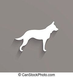 Dog graphic in white and gray