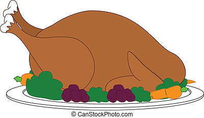 Turkey with dressing on plate - Large turkey with dressing...