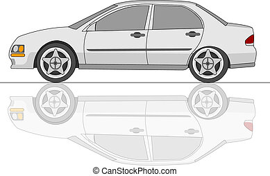 White Sedan Car with reflection - White sedan car with...
