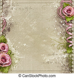 Vintage background with purple roses, lace, ribbon