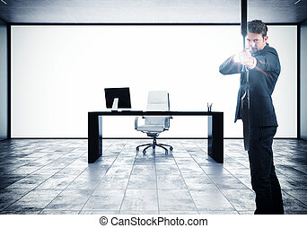 Aspire to success - Businessman with bow and background with...