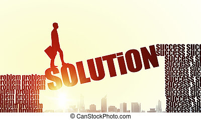 Silhouette of businessman over sunrise - Businessman running...