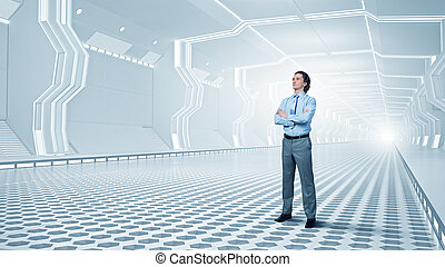 Man in futuristic interior - Confident businessman with arms...