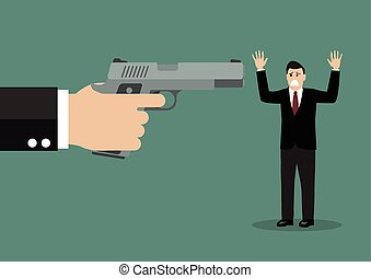 Hand with a handgun robs a businessman Vector illustration