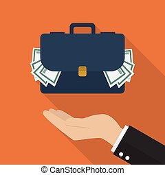 Hand with briefcase full of money Flat style design with...