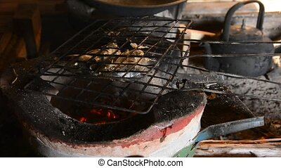 Grilling mackerel fish - Grilling mackerel fish on a...