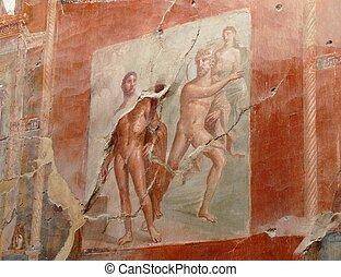 Ancient painted wall fresco at Herculaneum, Italy - Ancient...
