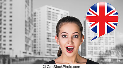 Woman and bubble with country flag - Woman and bubble with...