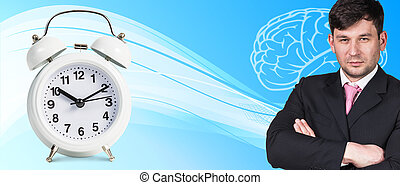 Businessman near classical alarm clock on the blue abstract...