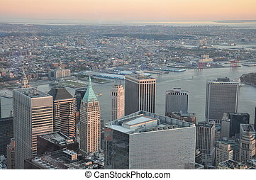 Aerial view of New York City from the One World Trade Center...