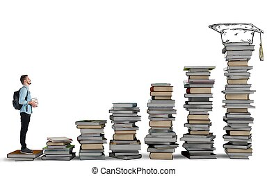 Degree course - Student climbing a ladder of study books