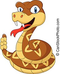 Cartoon rattlesnake - vector illustration of Cartoon...
