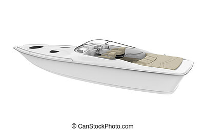 White Speedboat Isolated - White Speedboat isolated on white...