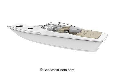 White Speedboat Isolated - White Speedboat isolated on white...