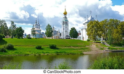 View of Vologda city center with Kremlin and Cathedral