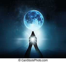 Respect and pray on blue full moon with nature background,...