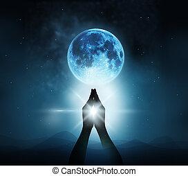 respeto, y, rogar, en, azul, Lleno, luna, con, naturaleza,...