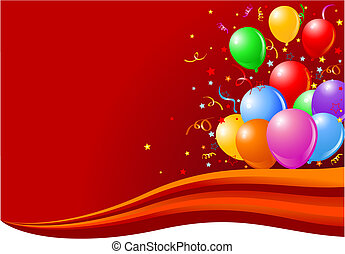 Balloons on the wave - Bunch of colorful balloons on the...