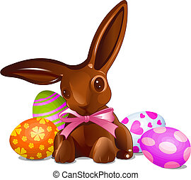 Chocolate Easter bunny - A chocolate Easter bunny with...