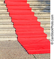 red carpet for the catwalk of celebrities along the...
