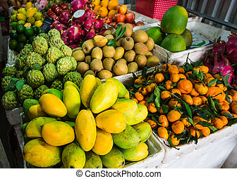 Exotic fruits in the Asian market in Vietnam